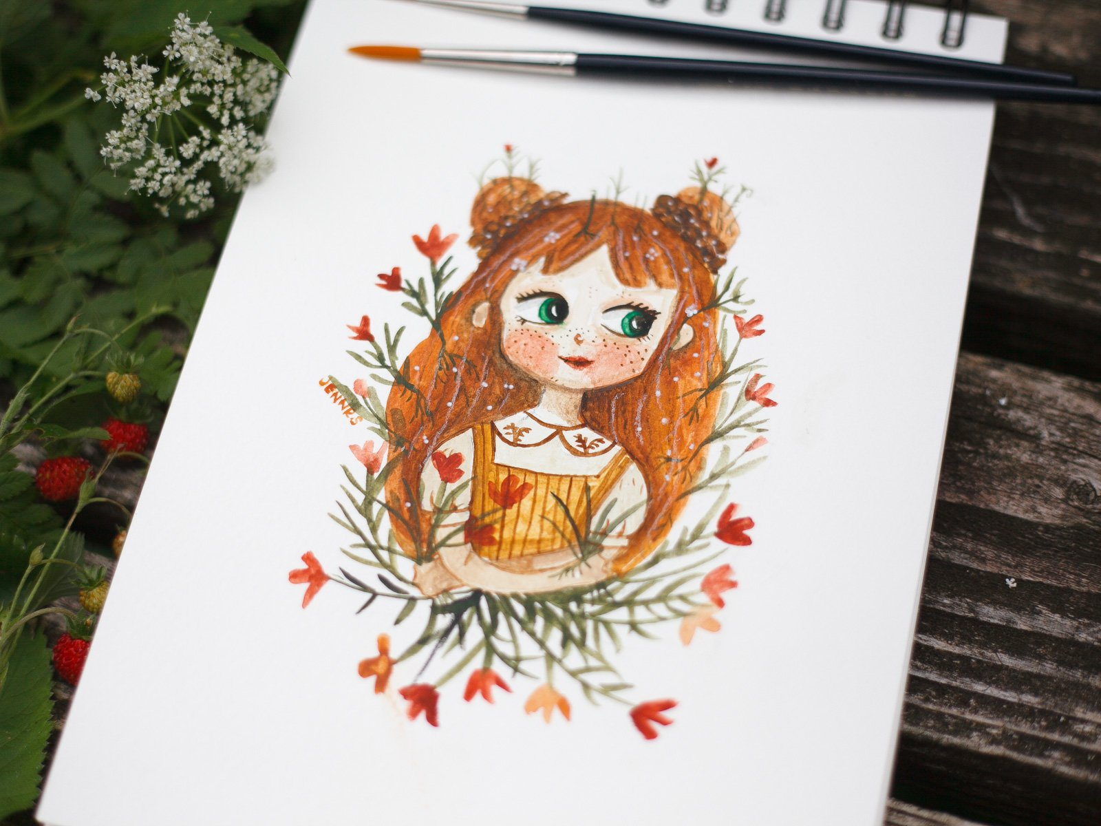 Custom watercolour portrait of a girl with red hair and blue eyes