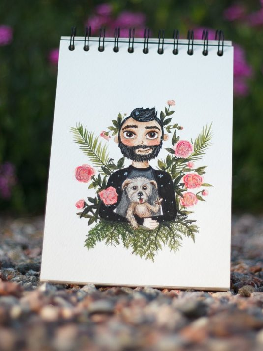 Warmsquirrel custom watercolor portrait for vmars