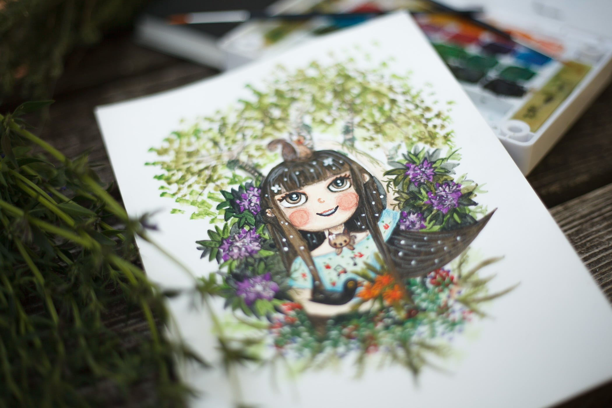 Close up of a custom watercolor portrait by warmsquirrel