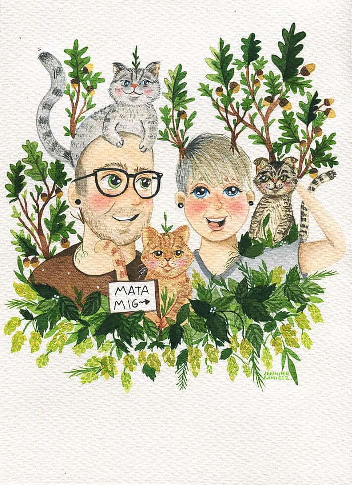 Custom portrait couple portrait from photo with cats and plants.