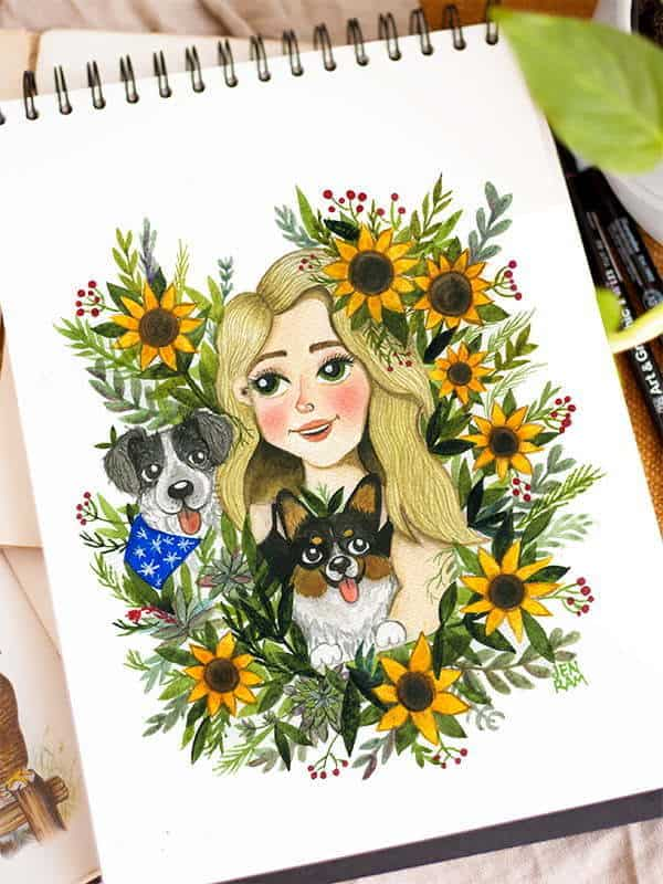 Custom Portrait From Photo Watercolor Jennifer Ramirez