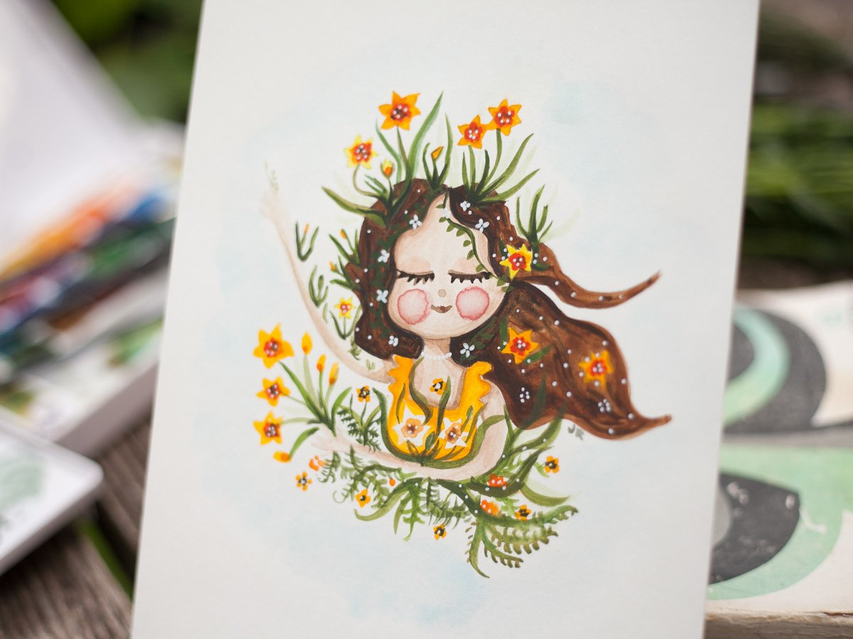 Watercolor illustration of dafodil girl by-warmsquirrel