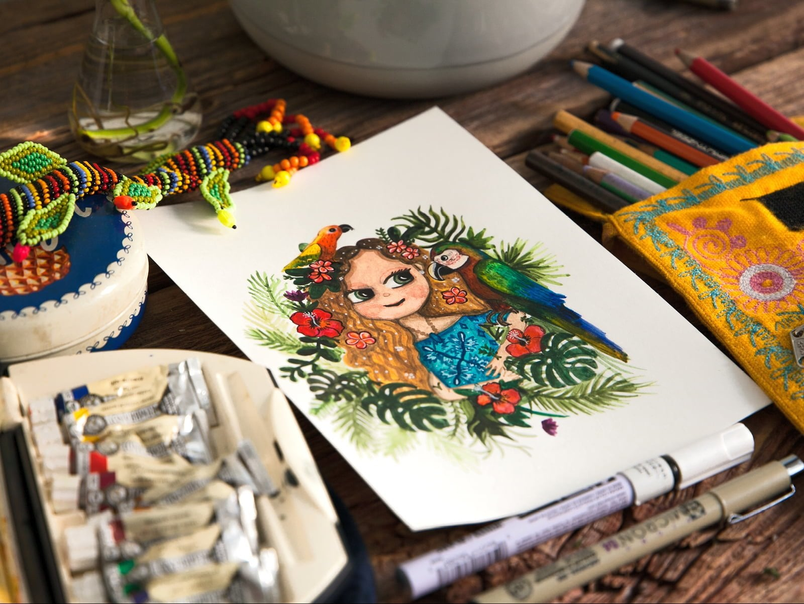 Custom watercolor portrait of a blond girl with flowers in her hair and a parrot on her shoulder