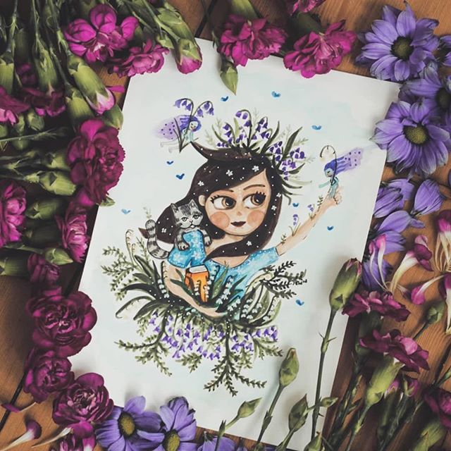 Custom watercolor portrait of a woman with fairies and a cat
