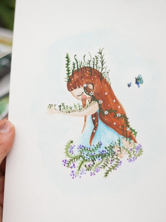 Watercolor illustration of sad girl by-warmsquirrel