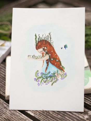 Watercolor illustration of sad girl by warmsquirrel