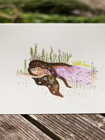Original watercolor painting of girl with lilac