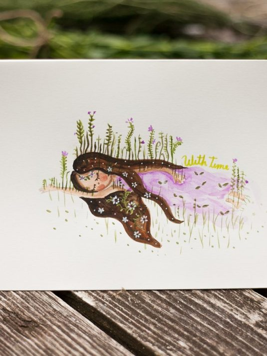 Watercolor painting of a sad girl by warm squirrel