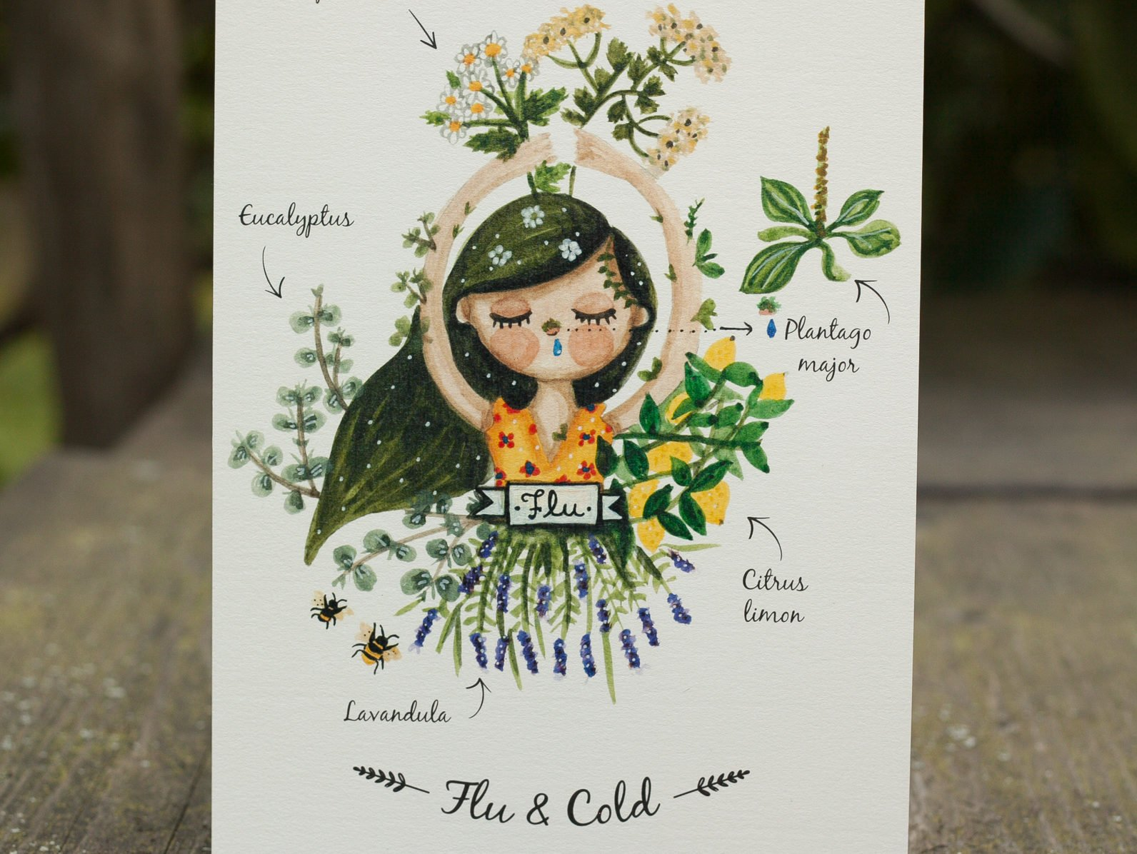 Watercolor illustration of a girl with a cold by warmsquirrel