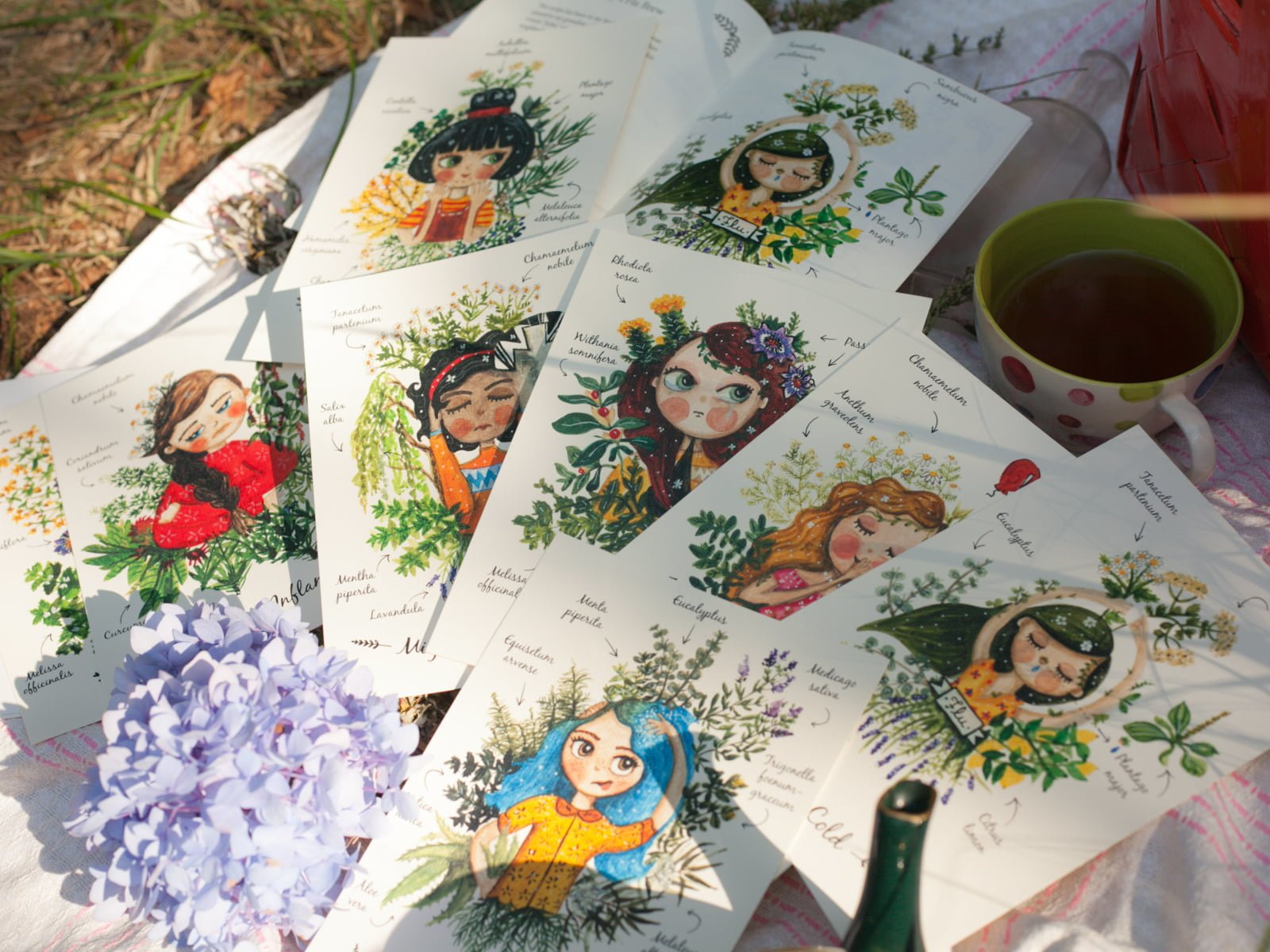 Watercolor Art prints of girls with flowers
