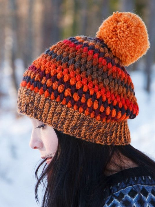 Striped handmade crochet beanie by warmsquirrel