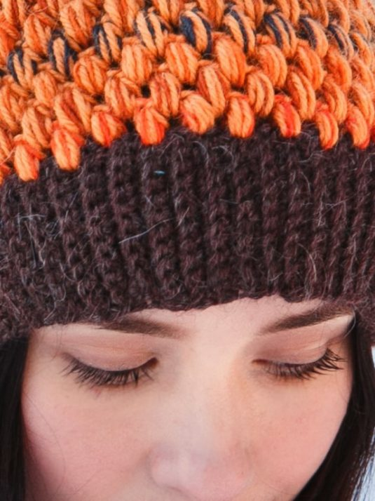 Orange and brown crochet beanie by warmsquirrel