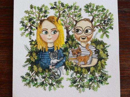Watercolor portrait of a couple surrounded by their favorite plants by warmsquirrel