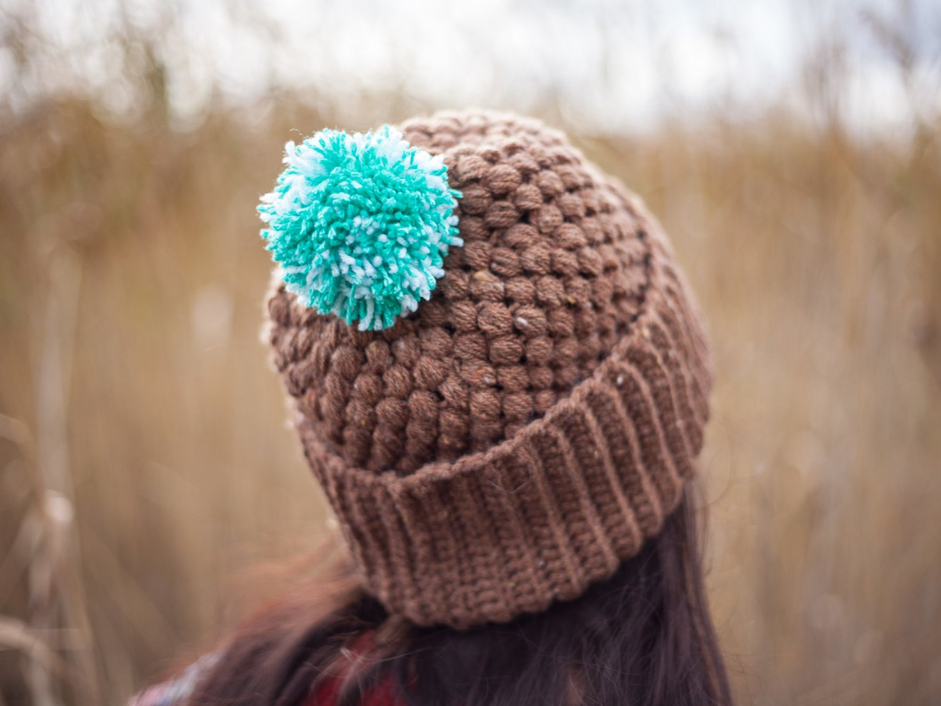 Brown and mint color crochet beanie