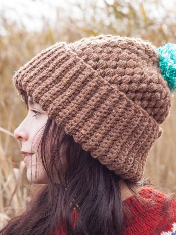 Double brimmed brown vegan beanie with pompom