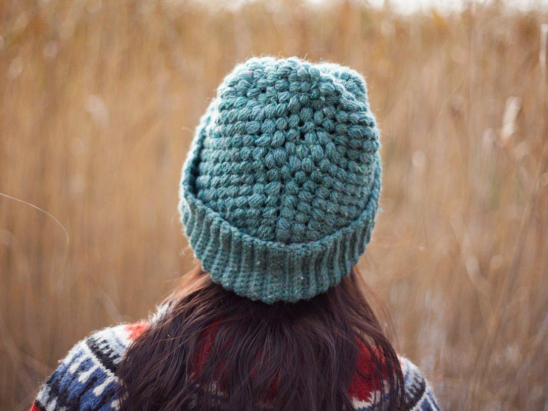 Vegan crochet beanie from the behind