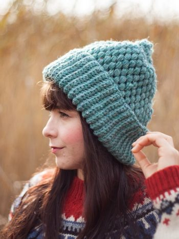Double brimmed ash green vegan beanie