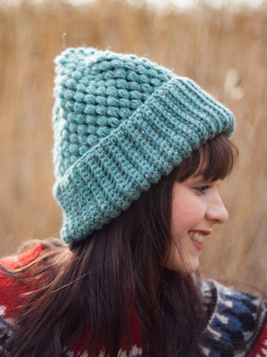 Double brimmed beanie crochet ash blue