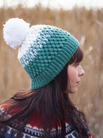 White and mint beanie with pompom