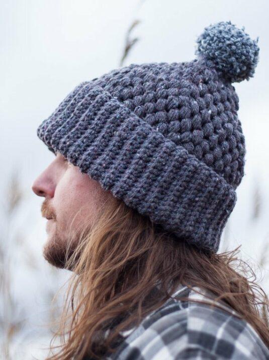 Gray crocheted beanie