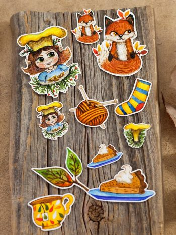 Autumn sticker set with foxes and mushrooms