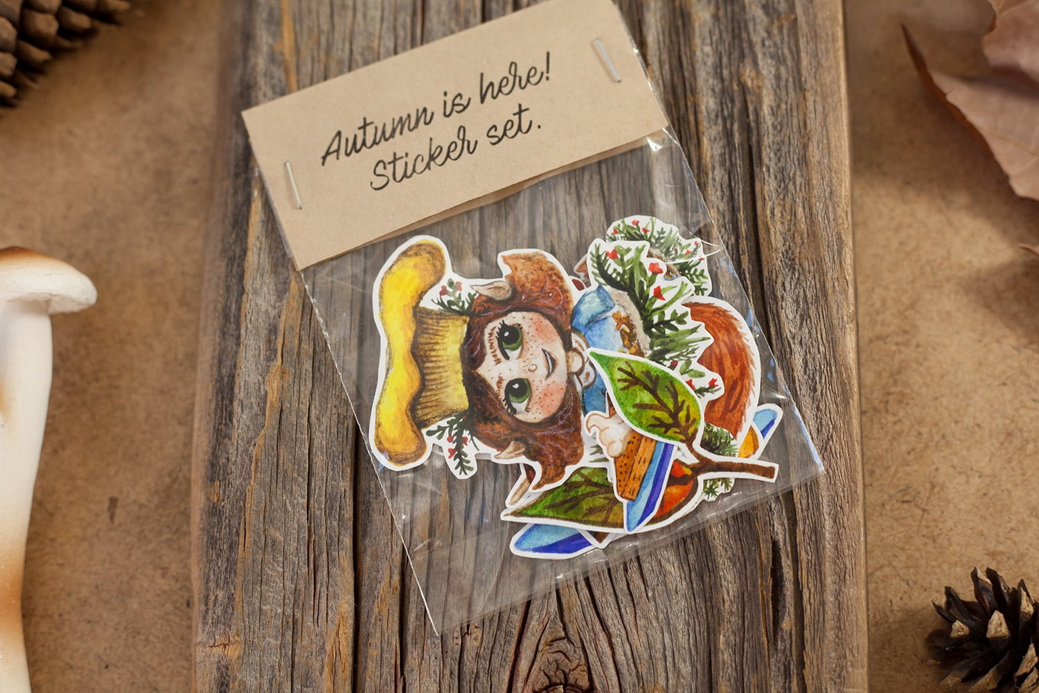 Image of an Autumn sticker set that includes fox, tea cup, wool, socks, leaves, pumpkin pie, chanterelle mushroms. The image show the package of the sticker set
