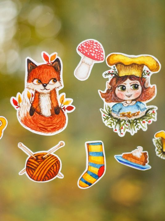 Stickers of foxes and mushrooms made by warm squirrel