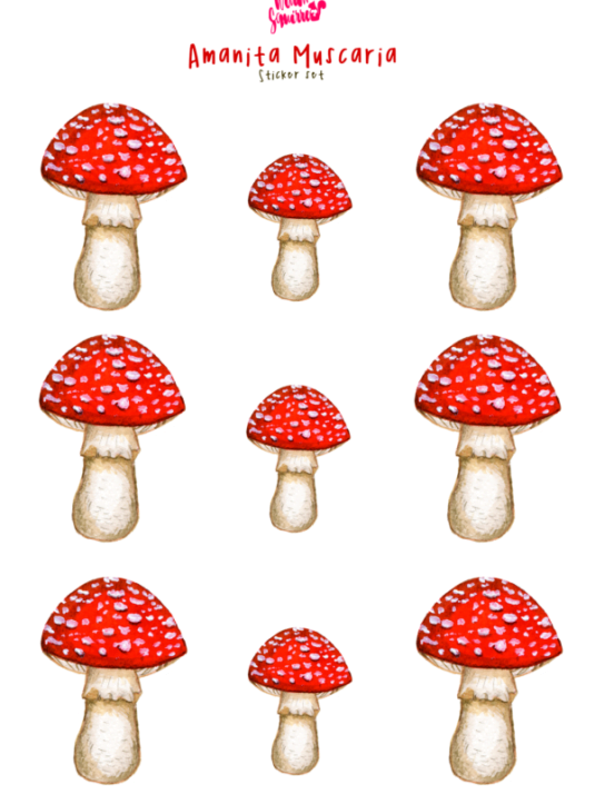 WarmSquirrel Amanita Muscaria Mushroom Stickers Big And Small Sizes