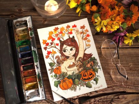 Custom watercolor portrait of a redhead girl with pumpkins and squirrels in autumn.