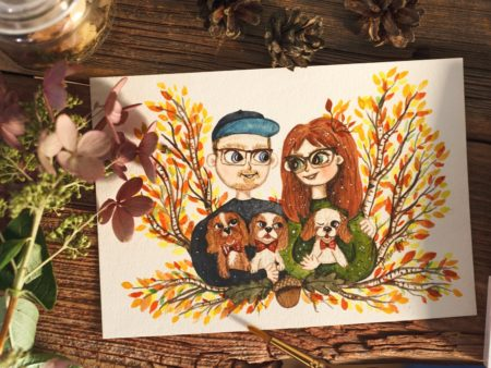 Custom watercolor portrait of a couple in love with their cavalier dogs
