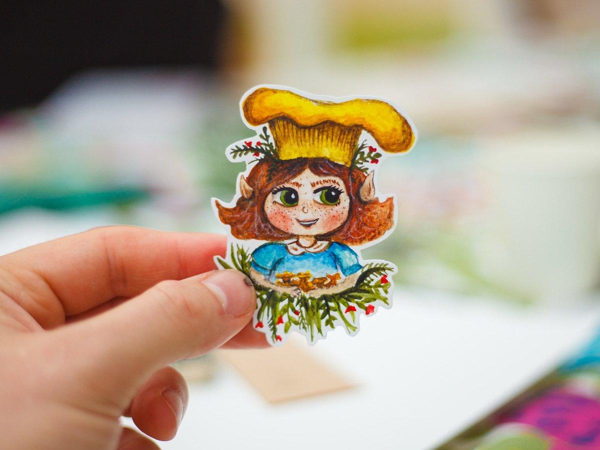 Sticker of a mushroom girl