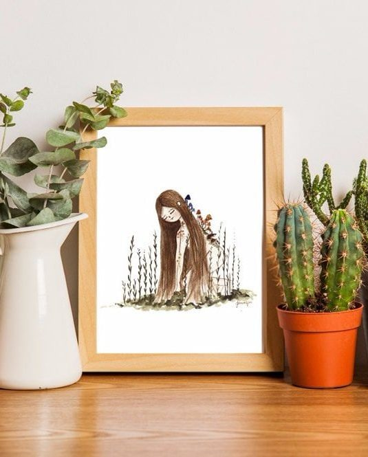 Plant lady A4 watercolor print by warmsquirrel