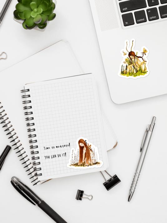 WarmSquirrel Flat Plant Girl Sticker Set