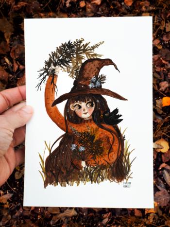 Green Witch picking Mugwort by Jennifer Ramirez