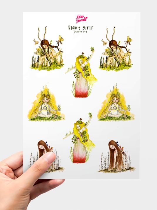 WarmSquirrel Plant Girls Sticker Pack Front Image By Warmsquirrel
