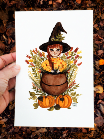 WarmSquirrel Pumpkin Witch Print By Warmsquirrel