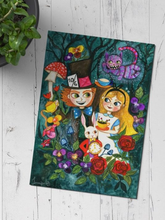 Alice in wonderland watercolor painting by warmsquirrel