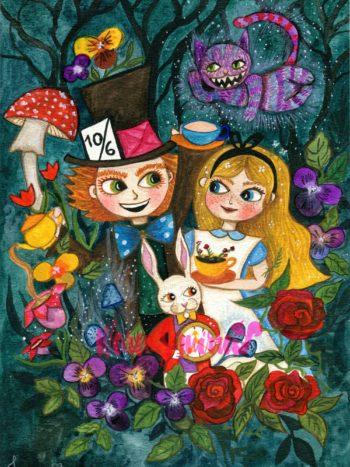 Alice in wonderland watercolor painting by Jennifer Ramirez