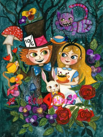 alice in wonderland watercolor print by warmsquirrel