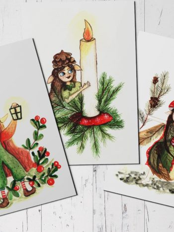 Christmas postcar set with three different gnomes by warmsquirrel