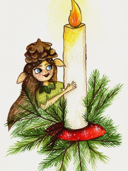 christmas girl elf with candle
