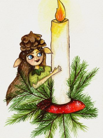 picture of a gnome girl with a pinecone hat by warmsquirrel