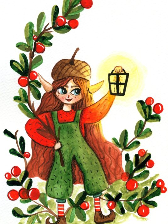 elf girl with lamp and berries in a lingomberry plant by warmsquirrel