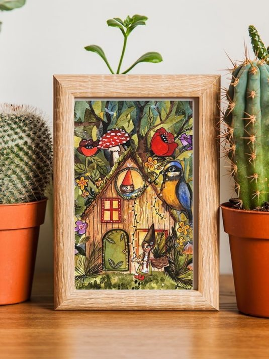 Gnome House A5 Mockup Print