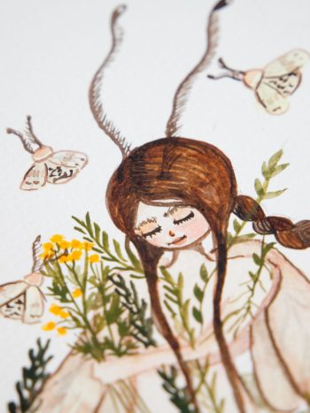 zoom of moth fairy watercolor illustration. A girl with brown har surrounded by flowers and with moth wings by warmsquirrel