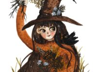 A Green witch with a hat picking mugwort with her familiar by Jennifer Ramirez