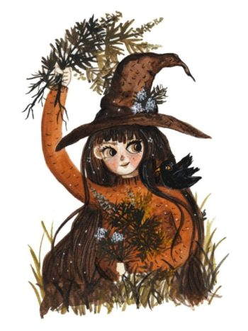 Cute Green Witch with a hat picking mugwort with her familiar. Print by Jennifer Ramirez