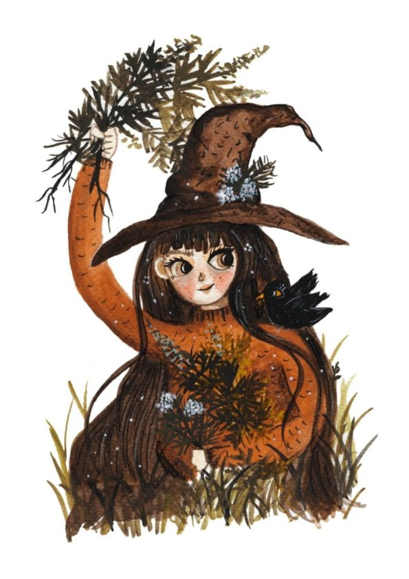 Cute Green Witch in her  Home. Print By Jennifer Ramirez Warmsquirrel