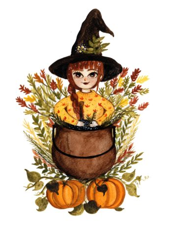 Cute Witch with hat in front of cauldron art print.