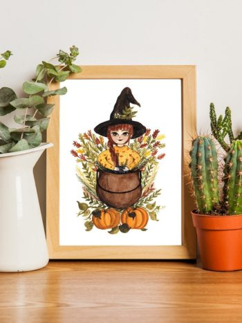 Watercolor painting of a redhead witch and her cauldron by warmsquirrel